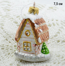 "Елочная игрушка ""Домик"" 7*6*5см. снежный кор, роз., арт. 6141 ID3805"