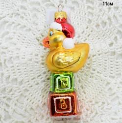 """Елочная игрушка """"Утенок на кубиках"""" золото, арт. 5260 ID3759"""
