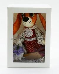 Текстильная кукла ручной работы девочка Собачка в платье, ID 3061/3