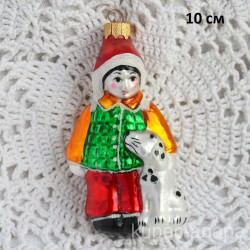 """Елочная игрушка """"Мальчик с собачкой"""" зел., арт. 5311 ID4480"""