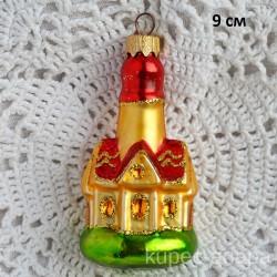 """Елочная игрушка """"Церковь"""" золото, арт. 1438 ID4461"""