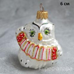 """Елочная игрушка """"Сова с баяном"""" красный, арт. 5871 ID1974"""