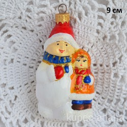 """Елочная игрушка """"Мальчик и снеговик"""" 9см. арт. 5790 ID4482"""