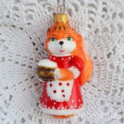 """Елочная игрушка """"Лисичка с горшочком"""" рыжая лиса, арт. 5260 ID4489"""