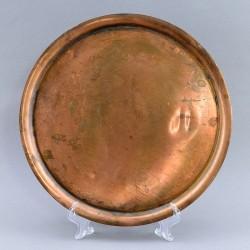 Медная кастрюля с крышкой на подносе. 20*25*20см, 26см, арт. 3046