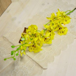"""Цветок искусственный ветка """"Орхидея Форзиция"""" желтый h=95см, арт. 3071"""