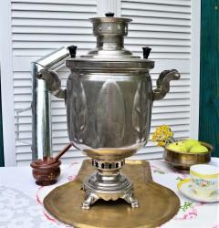 "Самовар на дровах 5 литров форма ""Бочка"" колосок, арт. 2080"