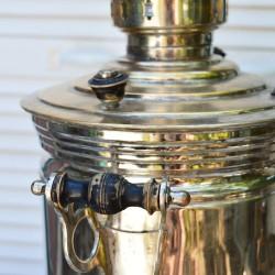 """Латунный никелированный самовар на дровах 5 литров форма """"Бочка"""", арт. 5690"""
