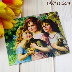 """Ретро открытка """"Девочки"""", арт. 3137 (ID3007)"""