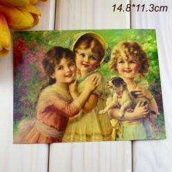 """Ретро открытка """"Девочки с щенком"""", арт. 3137 (ID3008)"""