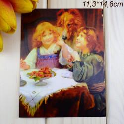 """Ретро открытка """"Девочки с собакой"""", арт. 3137 (ID3009)"""