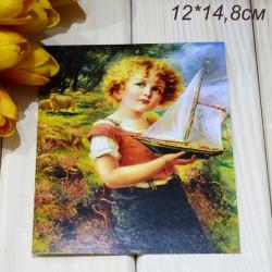 """Ретро открытка """"Мальчик с корабликом"""", арт. 3137 (ID3011)"""