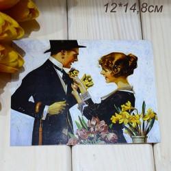 """Ретро открытка """"Продавщица цветов"""", арт. 3137 (ID3012)"""