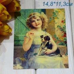 """Ретро открытка """"Девочка с щенком"""", арт. 3137 (ID3014)"""