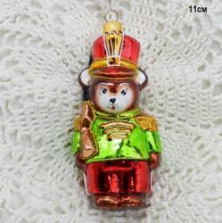 """Елочная игрушка """"Медведь солдат с ружьем"""" зеленый, арт. 5261 ID3776"""
