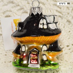"Елочная игрушка ""Гриб домик мухомор"" коричневый арт. 3209 ID4275"