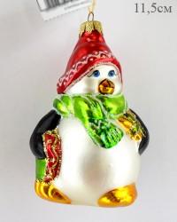 """Елочная игрушка """"Пингвин с подарком"""" 11,5см., ID1660"""