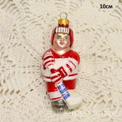 """Елочная игрушка """"Хоккеист"""" красный матовый, арт. 3209 ID4190"""