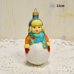 "Елочная игрушка ""Дети мальчик снежок"" голуб/желт. арт. 3209 ID4235"