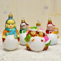 "Елочная игрушка ""Дети мальчик девочка снежок"" красн./желт. арт. 3209 ID4232"