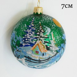 "Елочная игрушка шар ""Зимний пейзаж. Зеленый"" 7см.,арт.3211  ID1960"