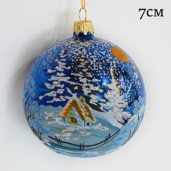 """Елочная игрушка шар """"Зимний пейзаж. Синий"""" 7см., арт.3211 ID1961"""