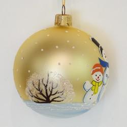 "Елочная игрушка шар ""Снеговики. Бежевый"" 7см., арт. 3211 ID1963"