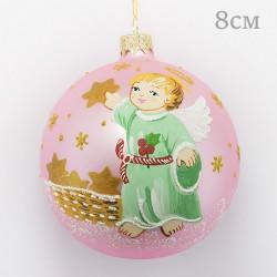 """Елочная игрушка шар """"Ангел со звездой. Розовый"""" 8см., арт. 3212. ID1967"""