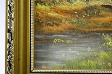 """Картина в раме """"Деревенский пейзаж. Мостик"""", арт. 3398"""