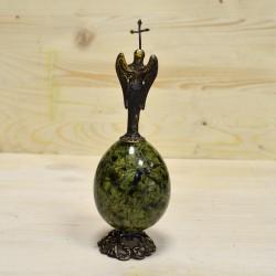 Архангел Михаил из бронзы на яйце из змеевика, арт. 3417