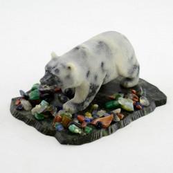 """Фигурка """"Медведь идущий"""" змеевик, самоцветы, арт. 3428"""
