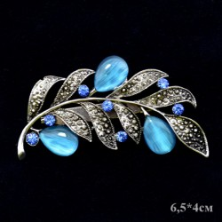 """Брошь """"Веточка с листочкам"""" цвет голубой в серебре 6,5*4см, арт. 3441"""