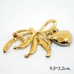"""Брошь """"Бант"""" с каплей, цвет бело-синий в золоте., арт. 3443"""