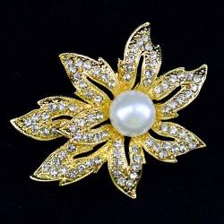 """Брошь """"Цветок с жемчужиной"""" цвет белый в золоте, арт. 3463"""