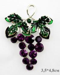 """Брошь """"Виноград"""" цвет фиолетово-зеленый в золоте, арт. 3464"""