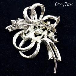 """Брошь """"Ветвь"""" весеннее настроение, сиреневый в серебре, арт. 3469"""