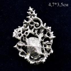 """Брошь """"Ажур"""" цвет синий в черненом серебре, арт. 3471"""