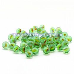 Декоративные стеклянные камушки шарик с рисунком, 250гр., арт. 3575