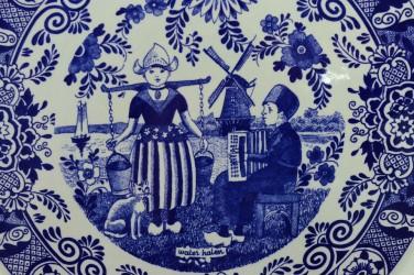 """Блюдо для пиццы """"Голландский пейзаж. Мальчик и девочка"""", арт. 3637"""