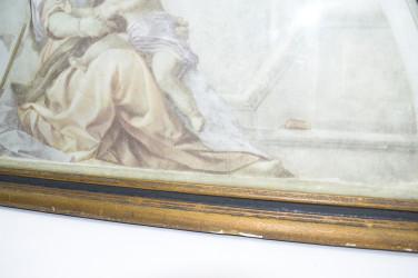 """Иллюстрация (литография) в раме """"Чтение Торы"""", арт. 3652"""