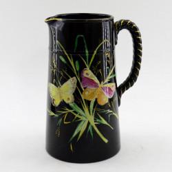 "Кувшин черного цвета ""Бабочки в траве"",  арт. 3686"