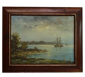 """Картина в деревянной раме """"Ночной залив"""", арт.3723"""