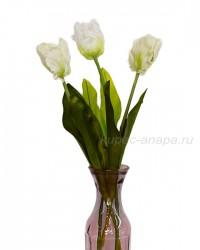 """Набор цветов искусственных из 3шт. """"Тюльпан Волна"""" белый 55см, арт. 3928"""