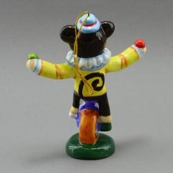 "Фигурка - елочная игрушка ""Обезьяна на колесе"" майолика, арт. 3952"