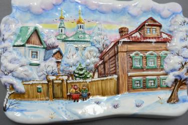 "Панно объемное ""Времена года. Зима и лето"" майолика, арт. 3981"
