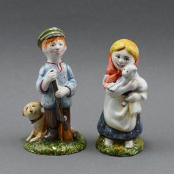 "Фигурка ""Девочка с овечкой. Пастушка"" майолика, арт. 3967"