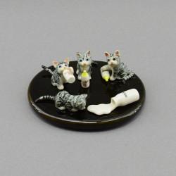 """Фигура миниатюра """"Котята на подставке с бутылками молока"""", арт. 3990"""