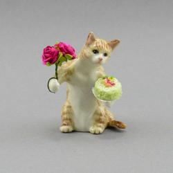 """Фигура миниатюра """"Кот держит торт и букет"""", арт. 3995"""