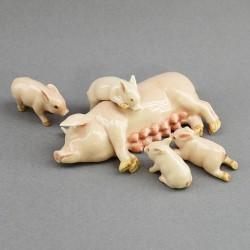"""Фигура миниатюра """"Свинья и поросята. Семья"""", арт. 4036"""
