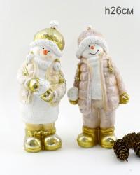 """Фигура """"Девочка и мальчик снеговики играют в снежки"""" 26см., арт. 4073"""